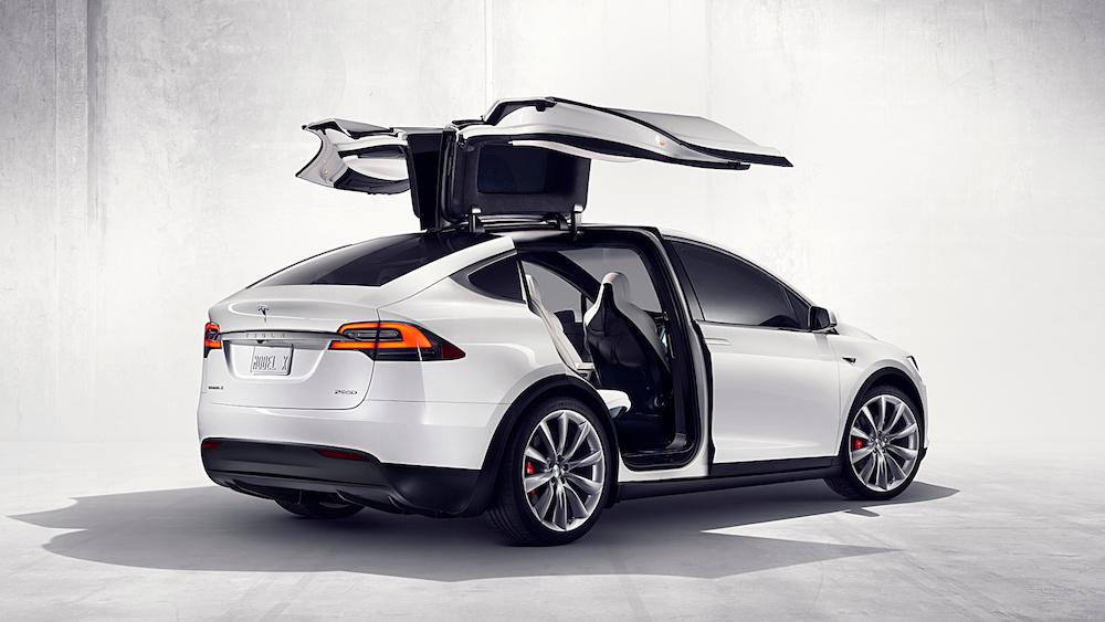 2017 Tesla Model X SUV-White-rear-view