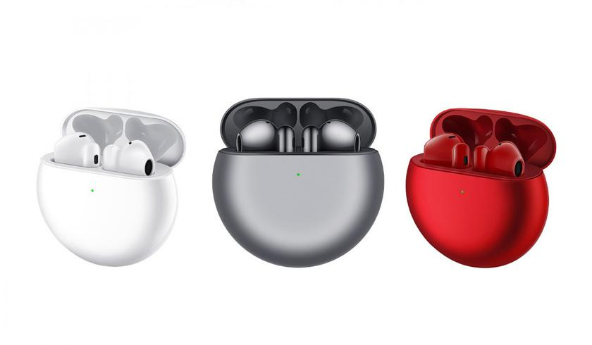 Huawei Freebuds 4 white, grey and red color, 3 colors