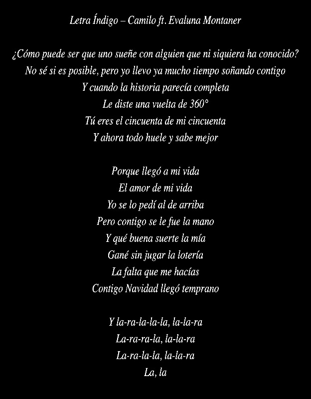 Letra Índigo – Camilo Evaluna Montaner lyric art by AZ World News