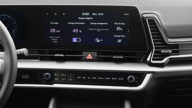 New 2022 Kia Sportage Hybrid SUV dashboard inside view