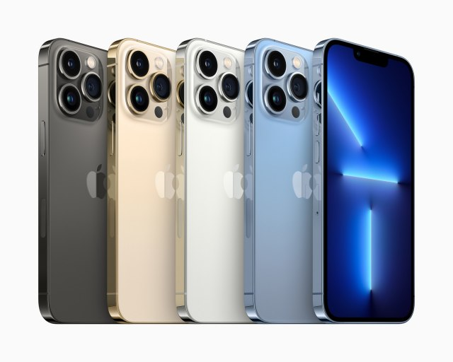 iPhone 13 Pro with 1 TB storage, colors graphite, gold, silver and sierra blue