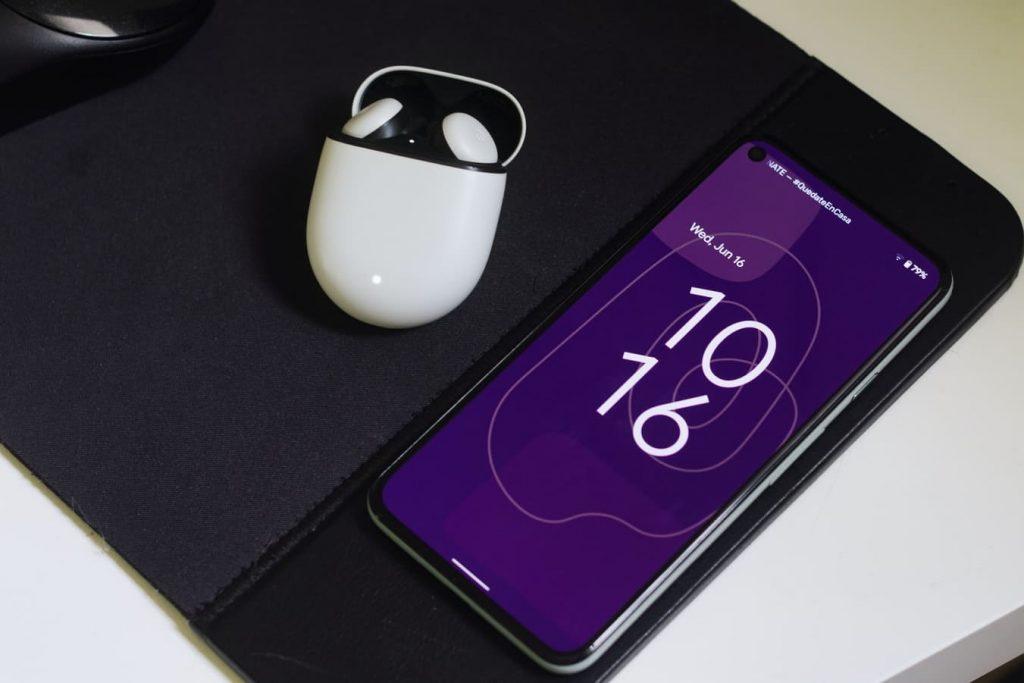 google pixel 5 smartphone with pixel buds